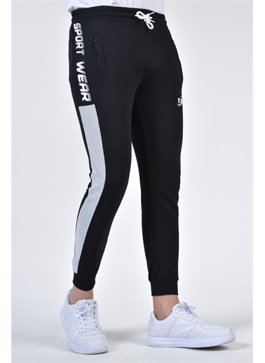 Rodi Jeans Erkek Sport Wear Yan Petek Garnili Alt Eşofman TY21YE090207 Siyah